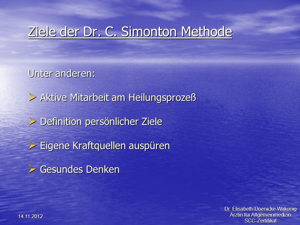 14.11.2012 Ziele der Dr. C. Simonton Methode Unter anderen: Aktive Mitarbeit am Heilungsprozeß Aktive Mitarbeit am Heilungsprozeß Definition persönlic