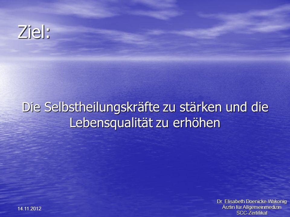 14.11.2012 Ziel: Die Selbstheilungskräfte zu stärken und die Lebensqualität zu erhöhen Dr. Elisabeth Doenicke-Wakonig Ärztin für Allgemeinmedizin SCC-
