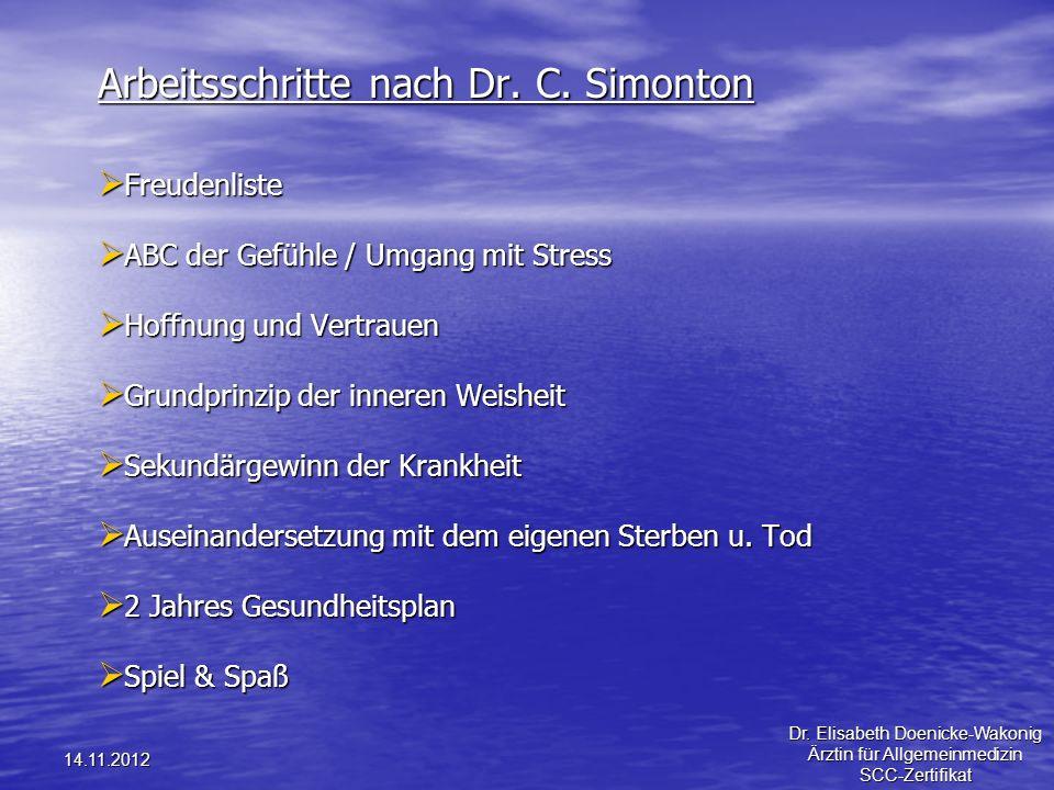 14.11.2012 Arbeitsschritte nach Dr. C. Simonton Freudenliste Freudenliste ABC der Gefühle / Umgang mit Stress ABC der Gefühle / Umgang mit Stress Hoff