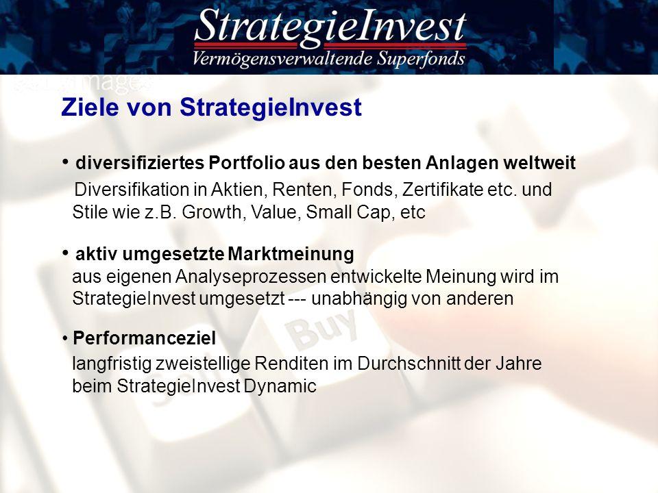 Ziele von StrategieInvest diversifiziertes Portfolio aus den besten Anlagen weltweit Diversifikation in Aktien, Renten, Fonds, Zertifikate etc. und St
