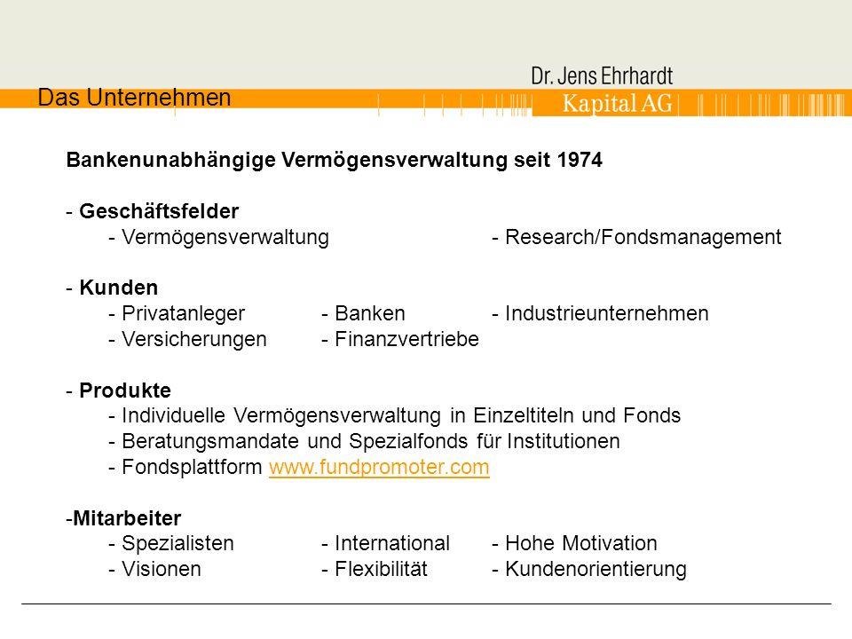 Bankenunabhängige Vermögensverwaltung seit 1974 - Geschäftsfelder - Vermögensverwaltung - Research/Fondsmanagement - Kunden - Privatanleger- Banken- I