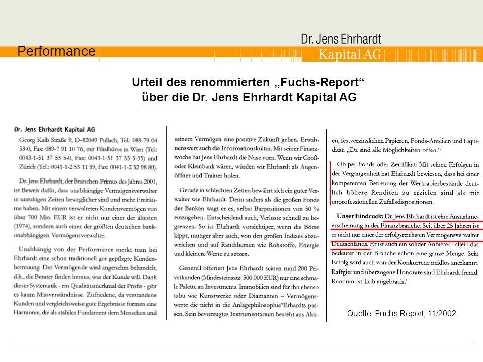 Urteil des renommierten Fuchs-Report über die Dr. Jens Ehrhardt Kapital AG Performance Quelle: Fuchs Report, 11/2002