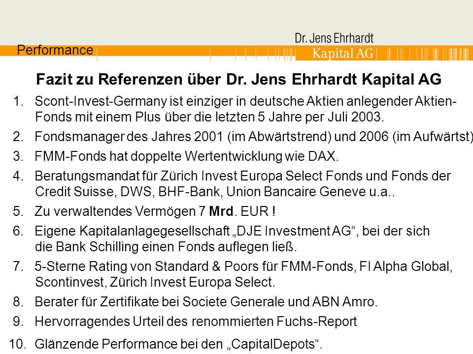 Fazit zu Referenzen über Dr. Jens Ehrhardt Kapital AG Performance 1. Scont-Invest-Germany ist einziger in deutsche Aktien anlegender Aktien- Fonds mit