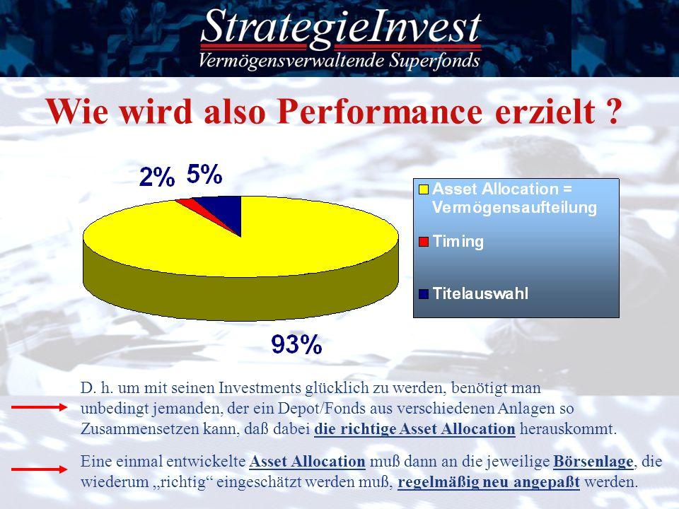 Wie wird also Performance erzielt ? D. h. um mit seinen Investments glücklich zu werden, benötigt man unbedingt jemanden, der ein Depot/Fonds aus vers