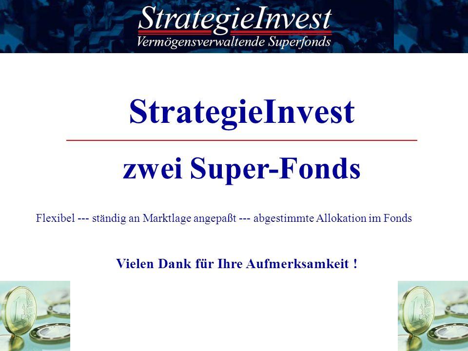 StrategieInvest zwei Super-Fonds Flexibel --- ständig an Marktlage angepaßt --- abgestimmte Allokation im Fonds Vielen Dank für Ihre Aufmerksamkeit !