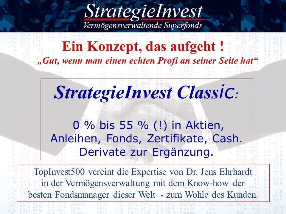 Ein Konzept, das aufgeht ! Gut, wenn man einen echten Profi an seiner Seite hat StrategieInvest Class ic : 0 % bis 55 % (!) in Aktien, Anleihen, Fonds