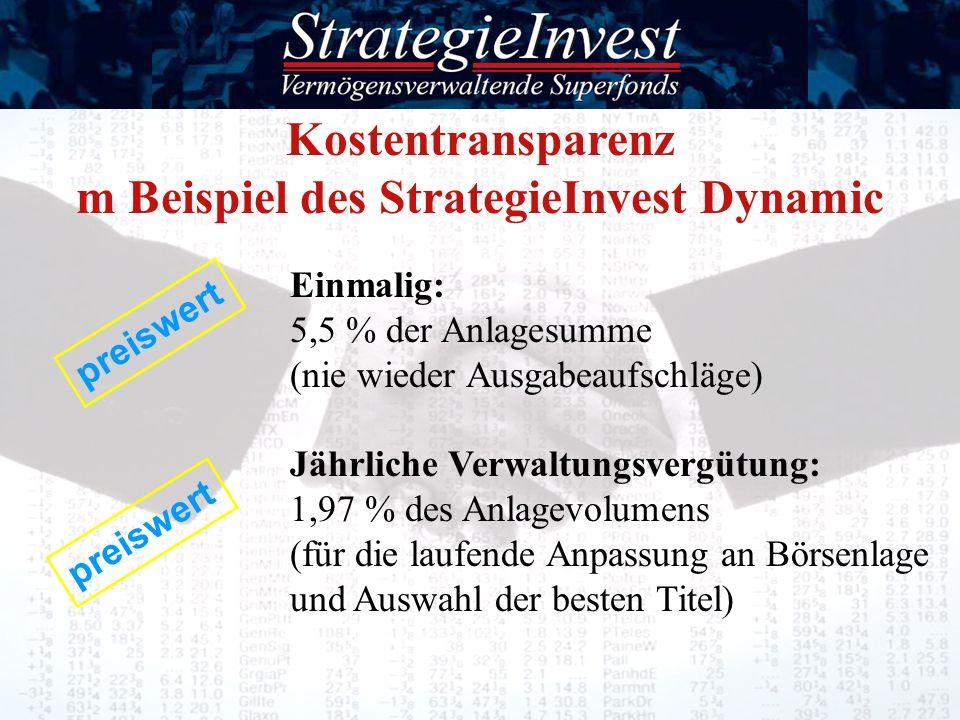 Kostentransparenz m Beispiel des StrategieInvest Dynamic Einmalig: 5,5 % der Anlagesumme (nie wieder Ausgabeaufschläge) Jährliche Verwaltungsvergütung