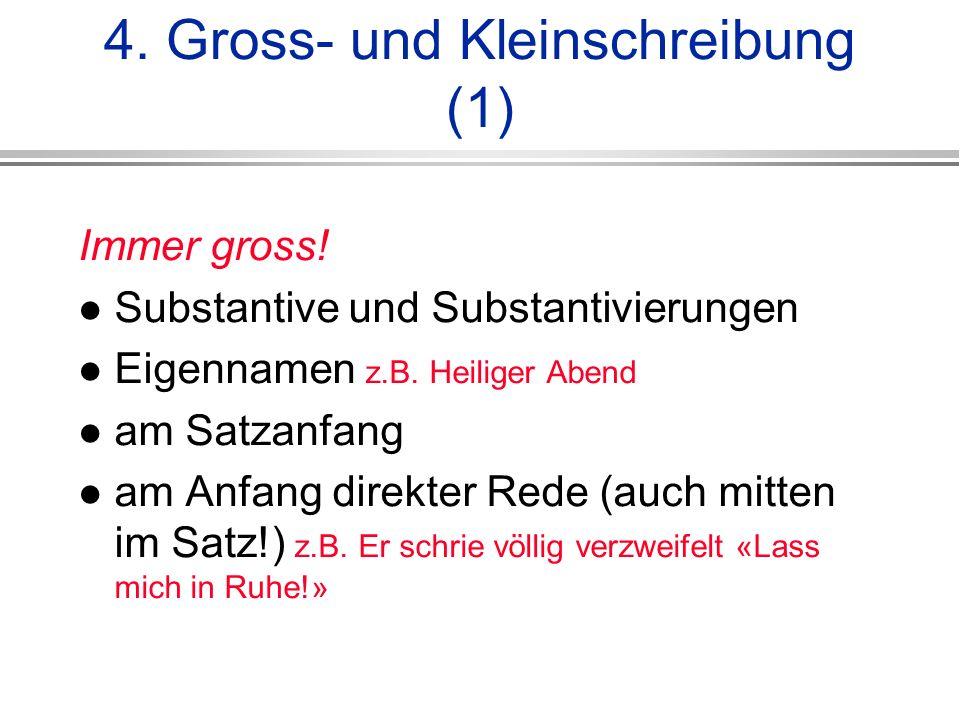 4.Gross- und Kleinschreibung (1) Immer gross. Substantive und Substantivierungen Eigennamen z.B.