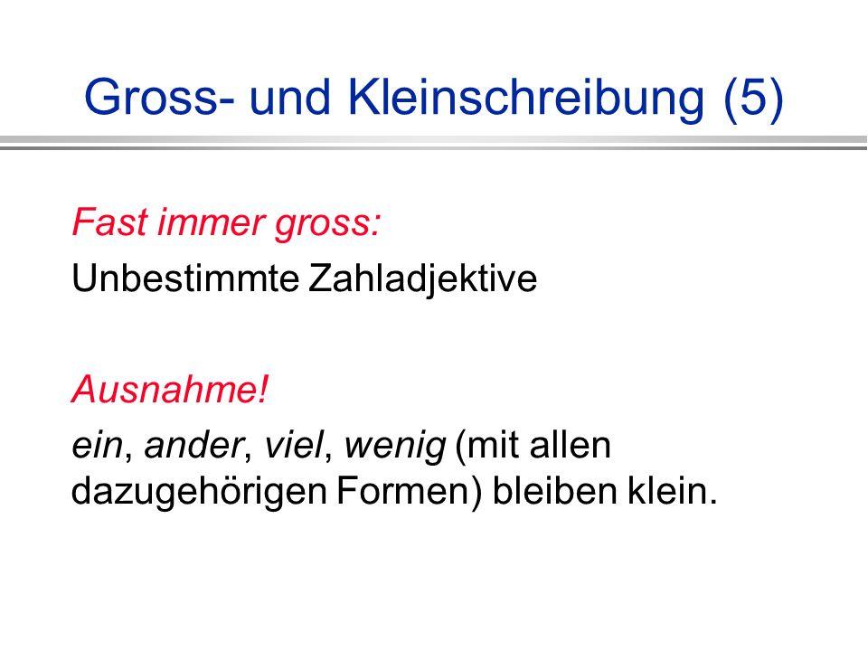 Gross- und Kleinschreibung (5) Fast immer gross: Unbestimmte Zahladjektive Ausnahme.