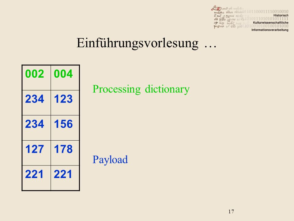 002004 234123 234156 127178 221 Processing dictionary Payload 17 Einführungsvorlesung …