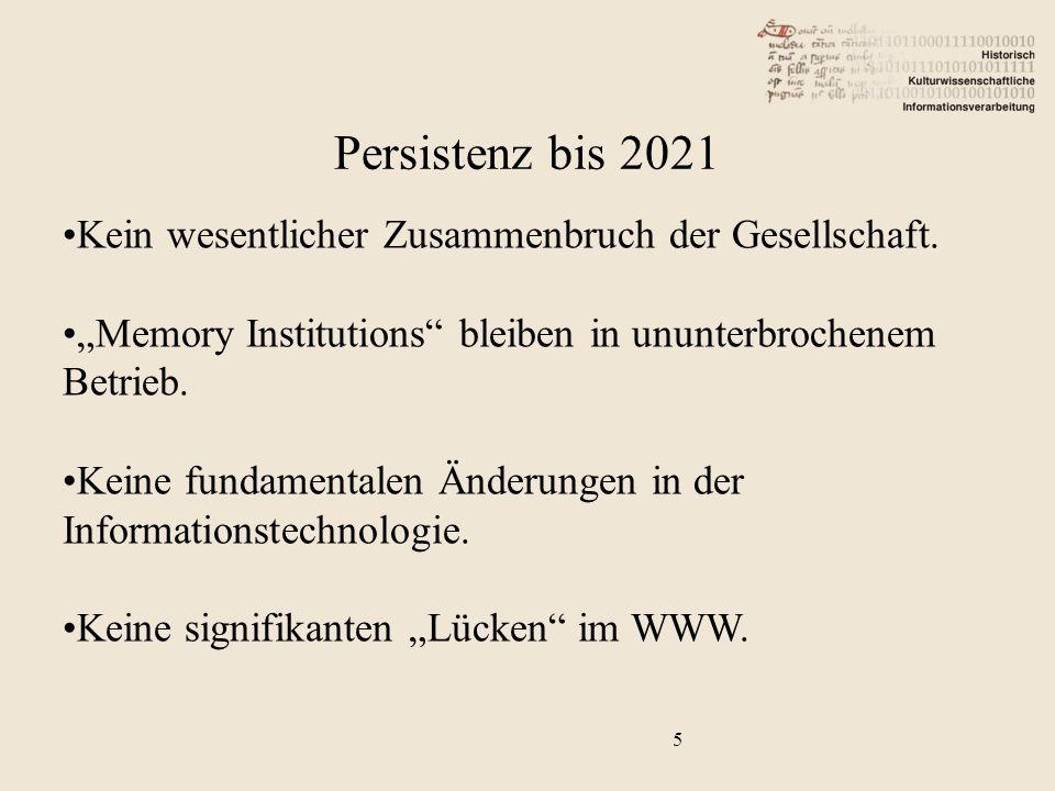 6 Generalannahme: Persistenz ist eine Funktion des Systems. Persistenz bis 2021