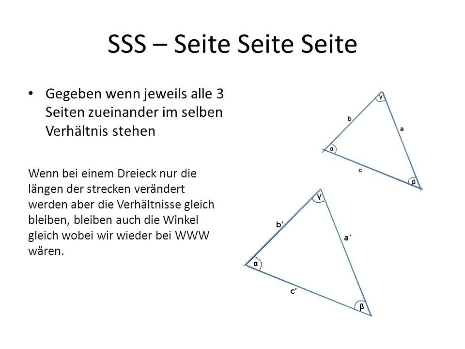 SWS – Seite Winkel Seite Gegeben wenn zwei Seiten einen Winkel einschließen Mithilfe des Cosinussatz können wir a berechnen und mit dem Sinussatz die Winkel β und γ.