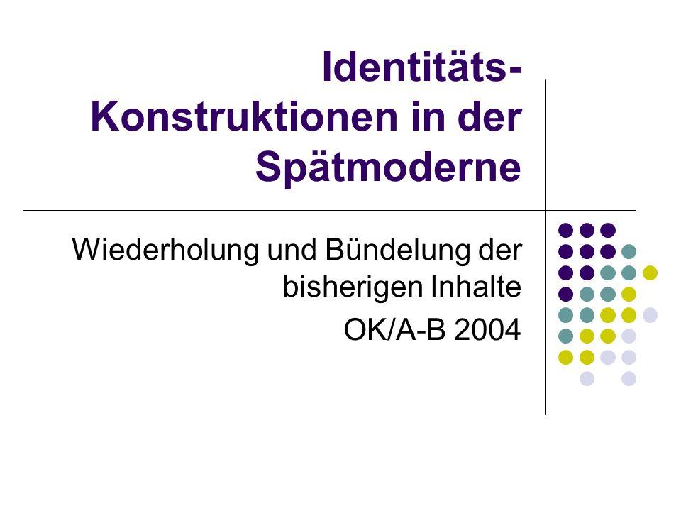 Identitäts- Konstruktionen in der Spätmoderne Wiederholung und Bündelung der bisherigen Inhalte OK/A-B 2004