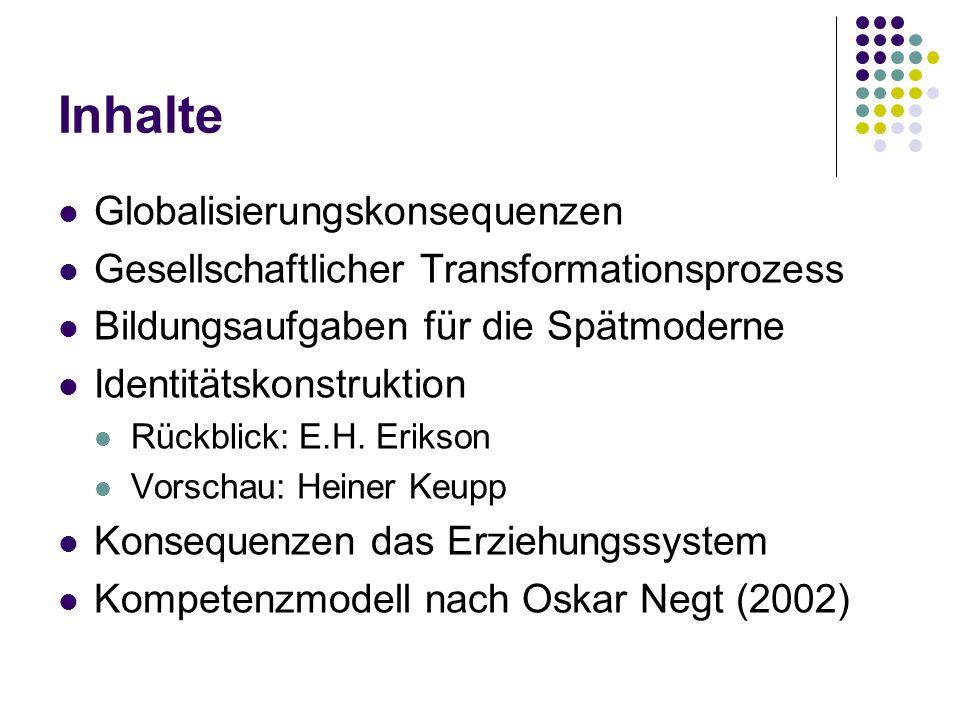 Inhalte Globalisierungskonsequenzen Gesellschaftlicher Transformationsprozess Bildungsaufgaben für die Spätmoderne Identitätskonstruktion Rückblick: E.H.