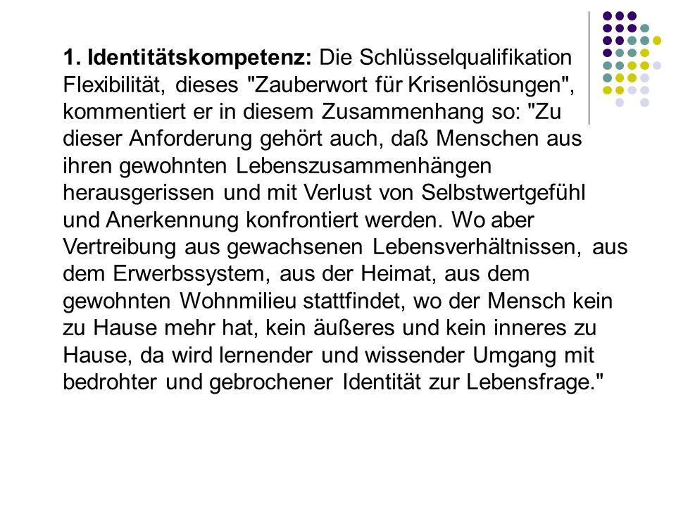 1. Identitätskompetenz: Die Schlüsselqualifikation Flexibilität, dieses