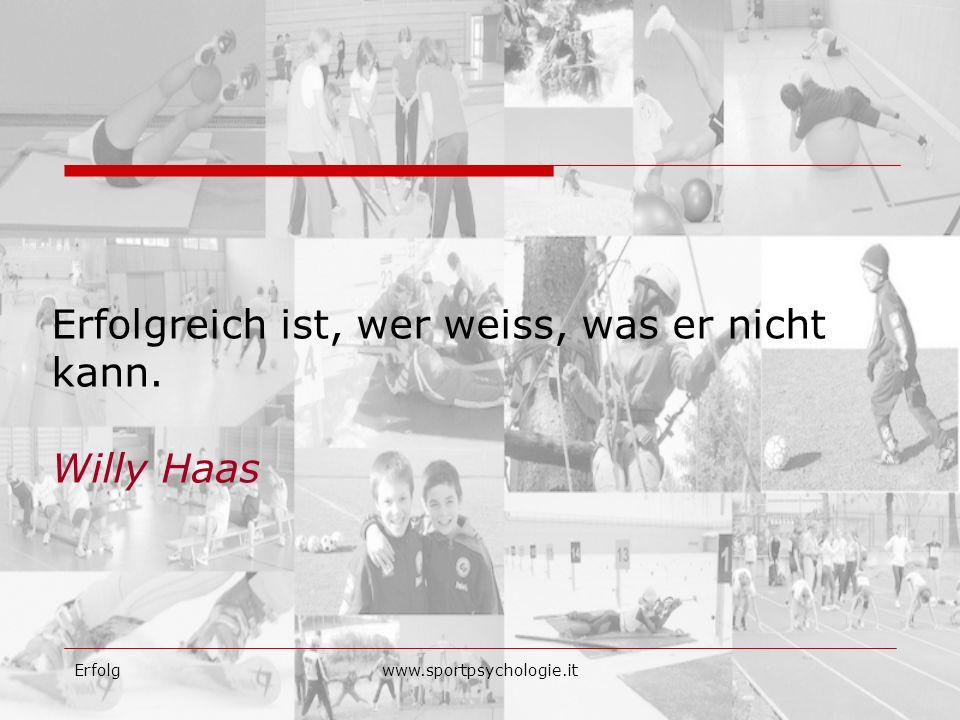 Erfolgwww.sportpsychologie.it Erfolgreich ist, wer weiss, was er nicht kann. Willy Haas