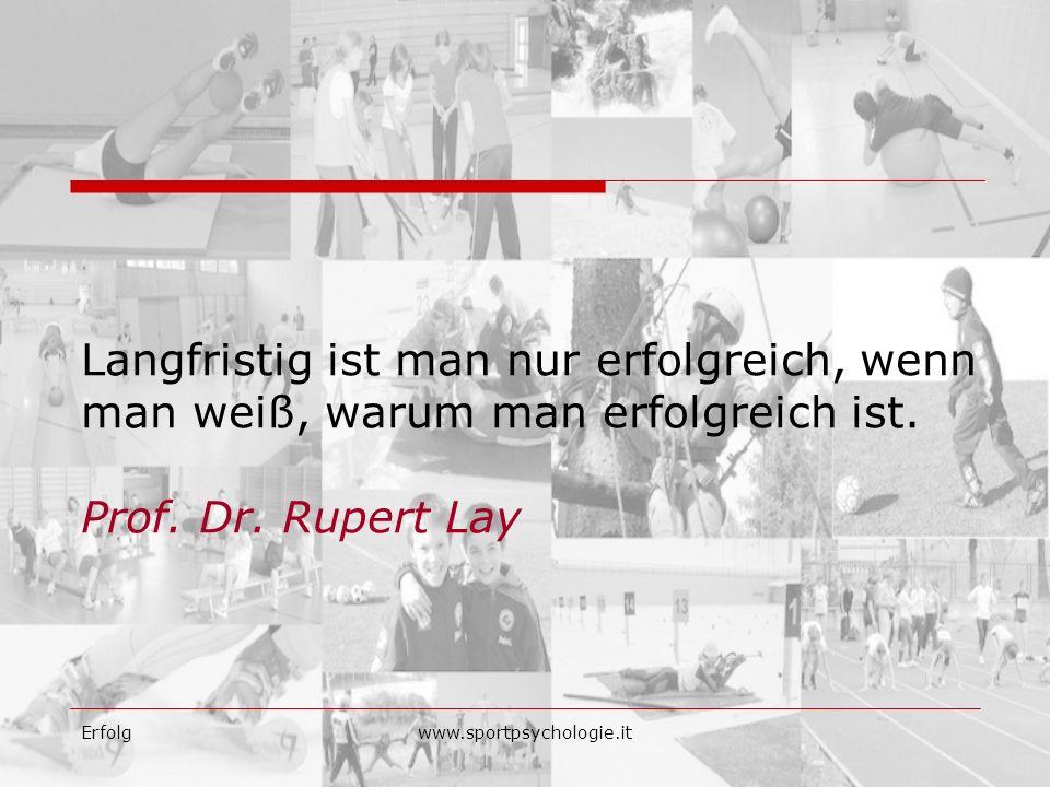 Erfolgwww.sportpsychologie.it Langfristig ist man nur erfolgreich, wenn man weiß, warum man erfolgreich ist. Prof. Dr. Rupert Lay