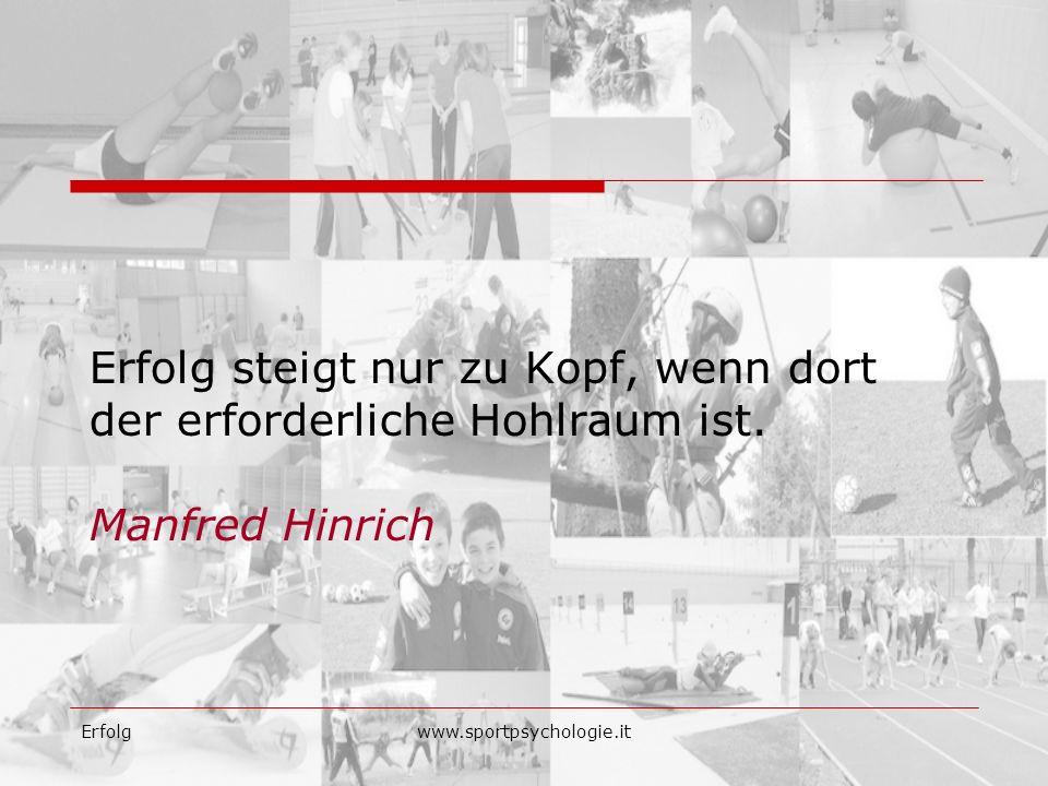 Erfolgwww.sportpsychologie.it Erfolg steigt nur zu Kopf, wenn dort der erforderliche Hohlraum ist. Manfred Hinrich