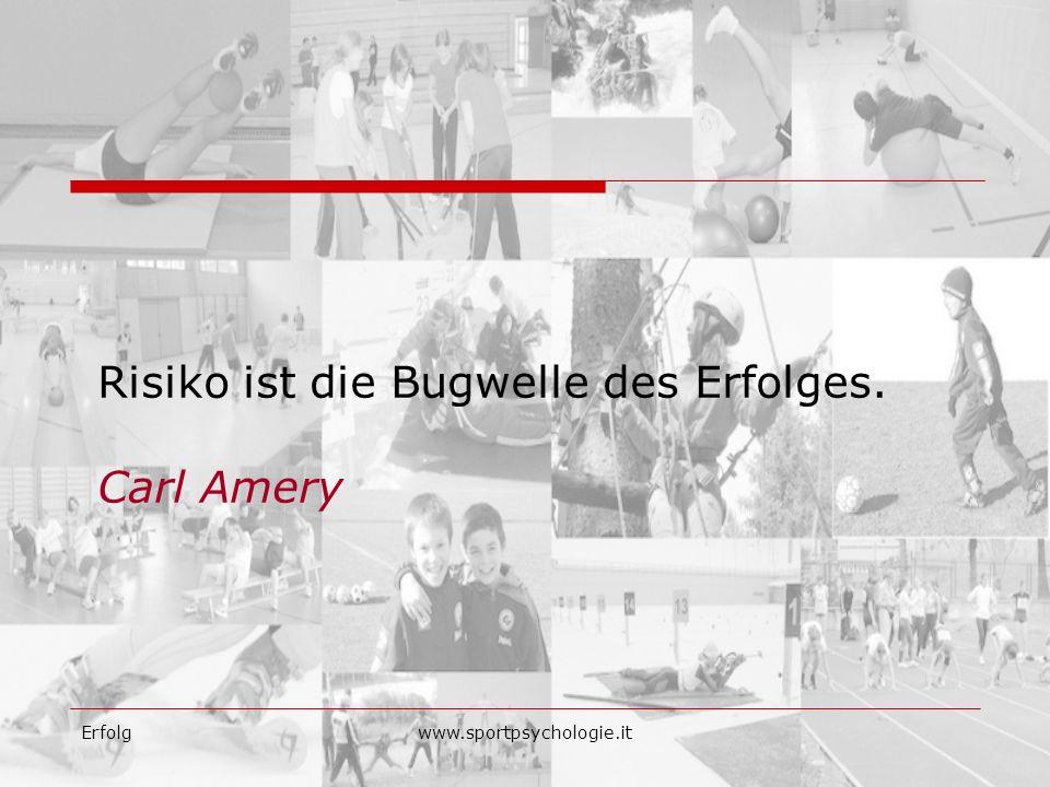 Erfolgwww.sportpsychologie.it Risiko ist die Bugwelle des Erfolges. Carl Amery