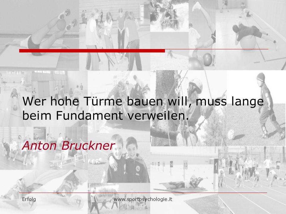 Erfolgwww.sportpsychologie.it Wer hohe Türme bauen will, muss lange beim Fundament verweilen. Anton Bruckner