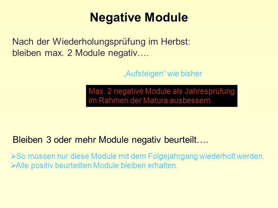 Nach der Wiederholungsprüfung im Herbst: bleiben max. 2 Module negativ…. Aufsteigen wie bisher Max. 2 negative Module als Jahresprüfung im Rahmen der