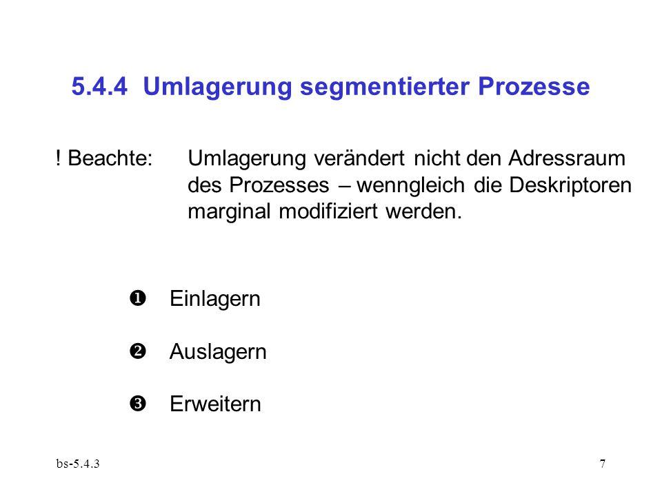 bs-5.4.38 Einlagern – falls Speicherbelegung es erlaubt: 0.
