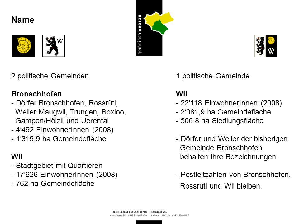 Bronschhofen - goldene Ammonschnecke auf schwarzem Grund Wil - schwarzer Bär mit schwarzem V-doppio auf silbernem Grund Die Elemente beider Wappen werden zu einem neuen vereint Wappen