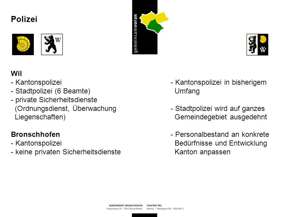 Bronschhofen und Wil - finanzielle / betreuende Sozialhilfe - Jugendhilfe - Suchthilfe (wipp) - Vormundschaftswesen Soziale Angebote - Beibehaltung der sozialen Leistungsangebote beider Gemeinden und Ausdehnung auf das ganze Gemeindegebiet - mehrheitlich organisatorische Anpassungen, da umfassende Regelungen im kant.