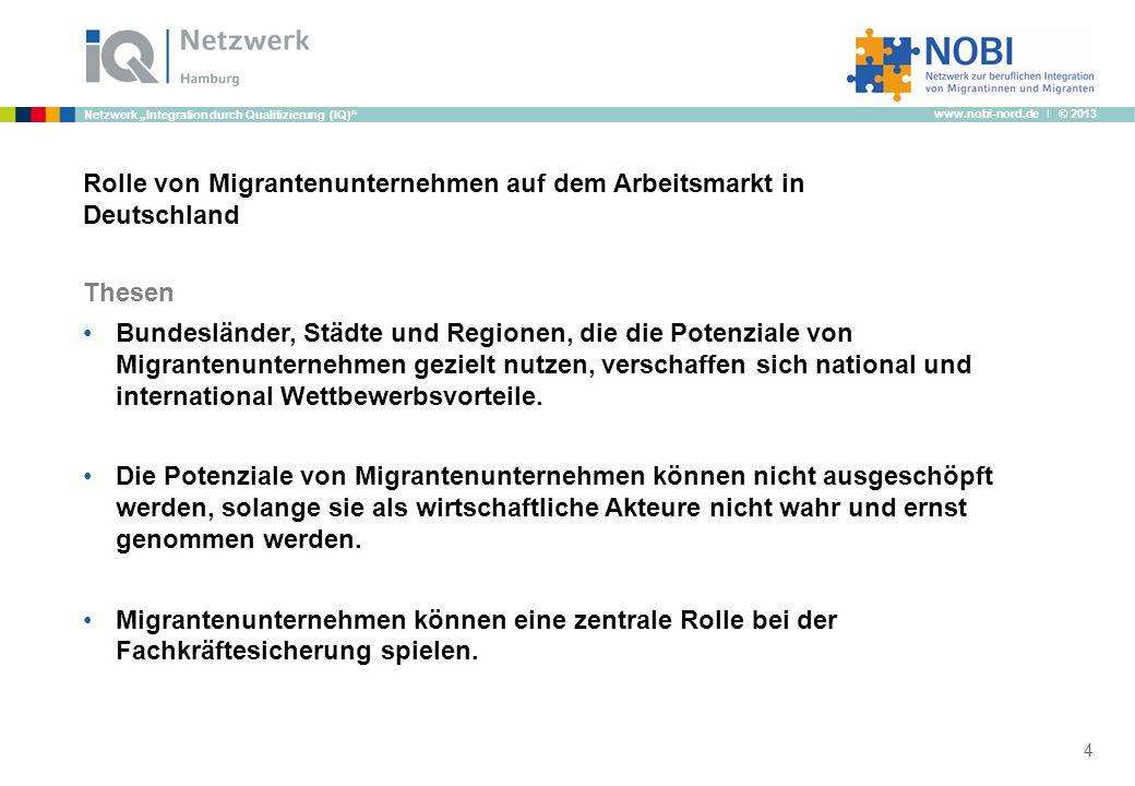 www.nobi-nord.de I © 2013 Netzwerk Integration durch Qualifizierung (IQ) Rolle von Migrantenunternehmen auf dem Arbeitsmarkt in Deutschland Thesen Bun