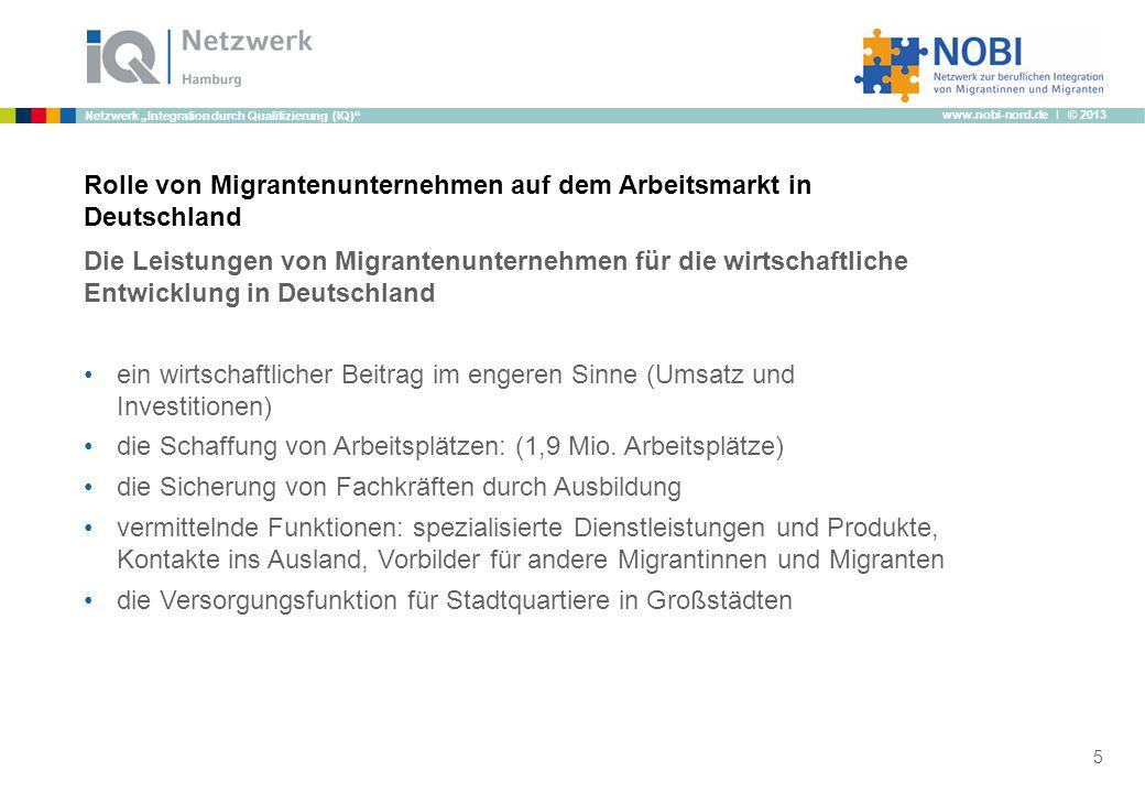 www.nobi-nord.de I © 2013 Netzwerk Integration durch Qualifizierung (IQ) Rolle von Migrantenunternehmen auf dem Arbeitsmarkt in Deutschland Die Leistu
