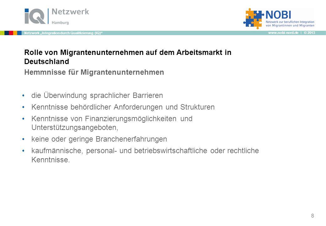 www.nobi-nord.de I © 2013 Netzwerk Integration durch Qualifizierung (IQ) Rolle von Migrantenunternehmen auf dem Arbeitsmarkt in Deutschland Hemmnisse