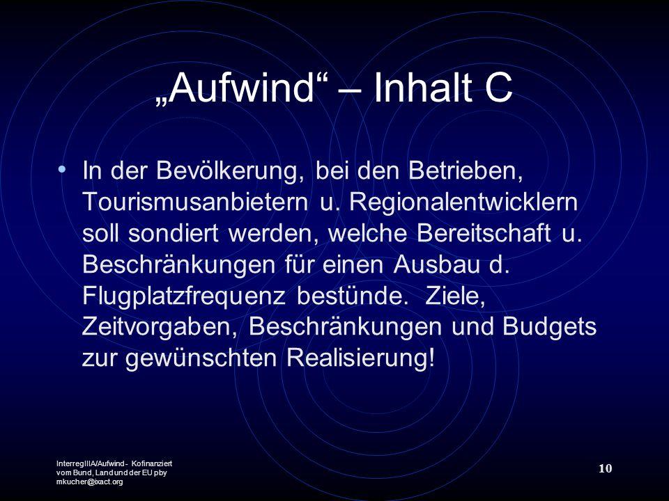 InterregIIIA/Aufwind - Kofinanziert vom Bund, Land und der EU pby mkucher@ixact.org 10 Aufwind – Inhalt C In der Bevölkerung, bei den Betrieben, Touri