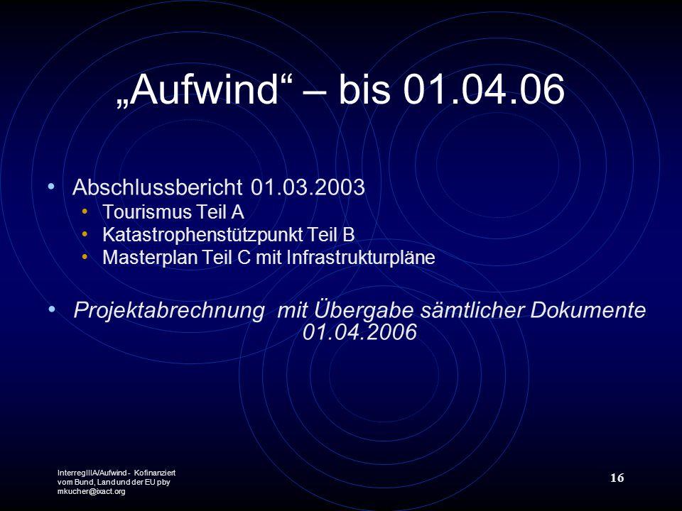 InterregIIIA/Aufwind - Kofinanziert vom Bund, Land und der EU pby mkucher@ixact.org 16 Aufwind – bis 01.04.06 Abschlussbericht 01.03.2003 Tourismus Te