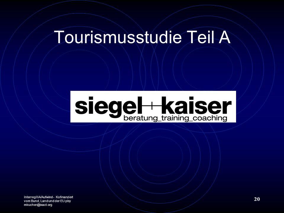 InterregIIIA/Aufwind - Kofinanziert vom Bund, Land und der EU pby mkucher@ixact.org 20 Tourismusstudie Teil A