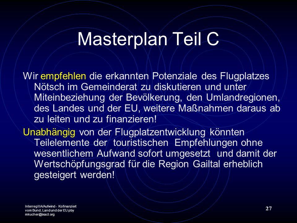 InterregIIIA/Aufwind - Kofinanziert vom Bund, Land und der EU pby mkucher@ixact.org 27 Masterplan Teil C Wir empfehlen die erkannten Potenziale des Fl