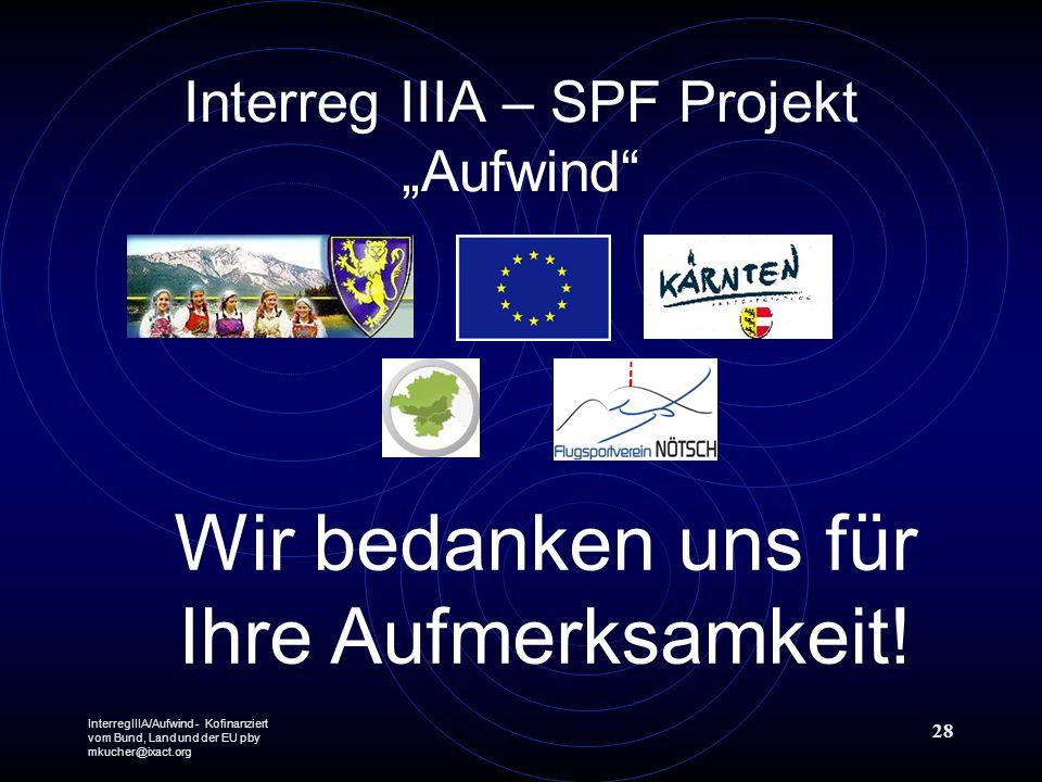 InterregIIIA/Aufwind - Kofinanziert vom Bund, Land und der EU pby mkucher@ixact.org 28 Interreg IIIA – SPF Projekt Aufwind Wir bedanken uns für Ihre Aufmerksamkeit!