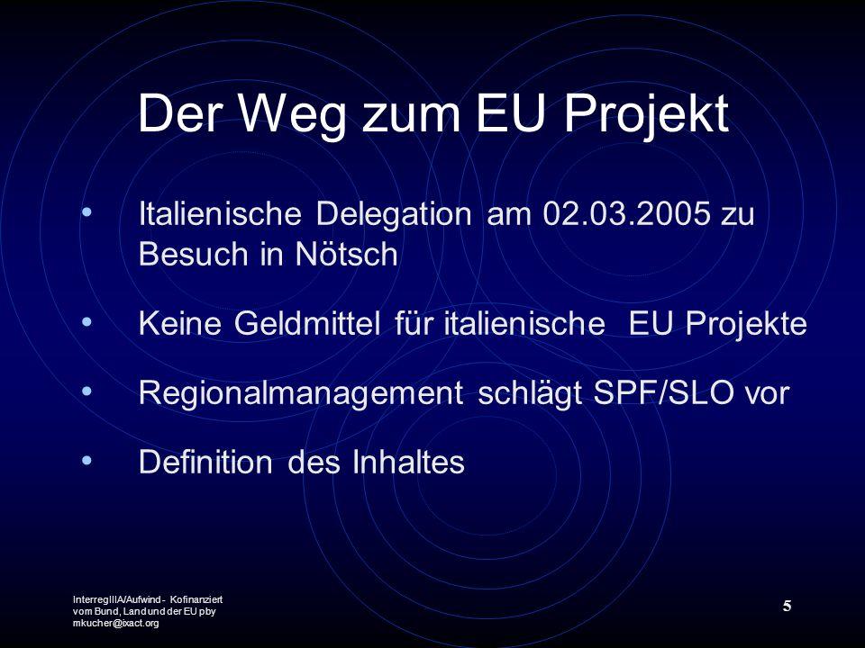 InterregIIIA/Aufwind - Kofinanziert vom Bund, Land und der EU pby mkucher@ixact.org 5 Der Weg zum EU Projekt Italienische Delegation am 02.03.2005 zu