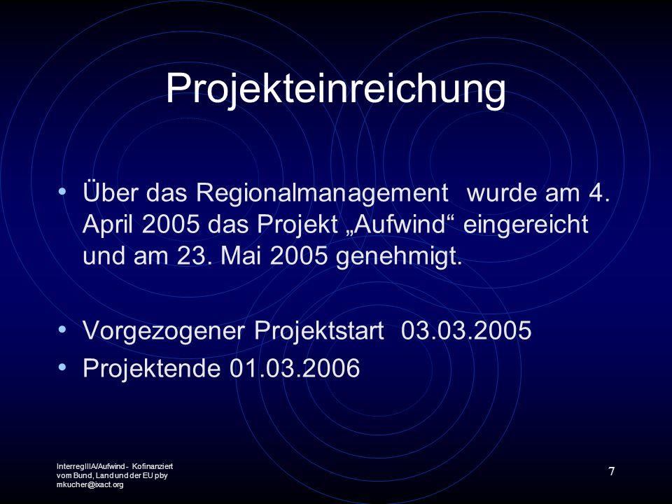 InterregIIIA/Aufwind - Kofinanziert vom Bund, Land und der EU pby mkucher@ixact.org 7 Projekteinreichung Über das Regionalmanagement wurde am 4. April