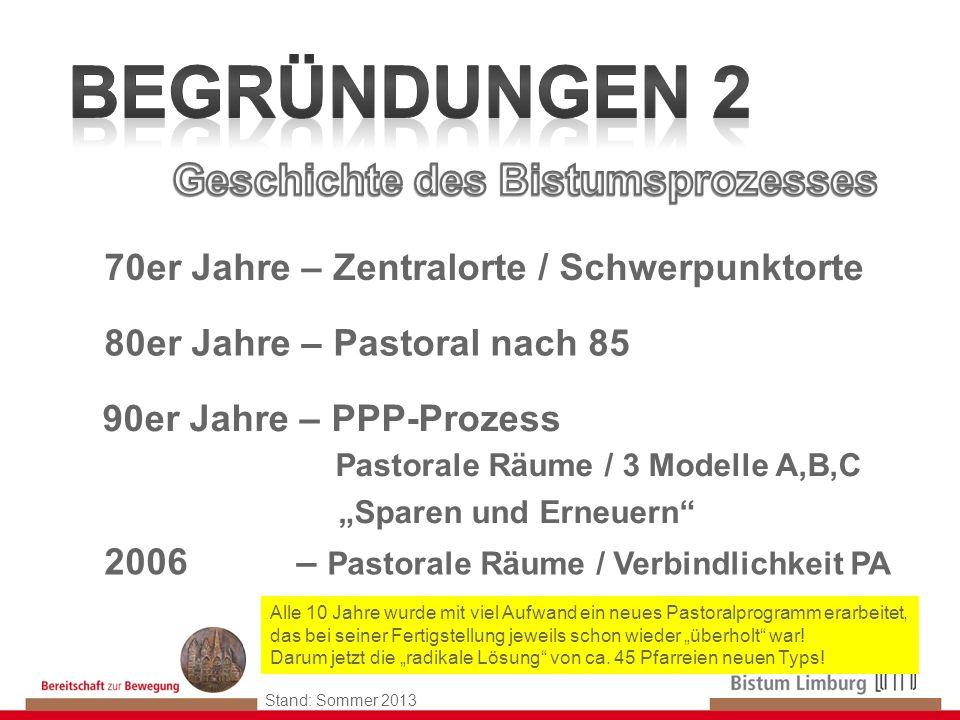 11 Stand: Sommer 2013 70er Jahre – Zentralorte / Schwerpunktorte 80er Jahre – Pastoral nach 85 90er Jahre – PPP-Prozess Pastorale Räume / 3 Modelle A,