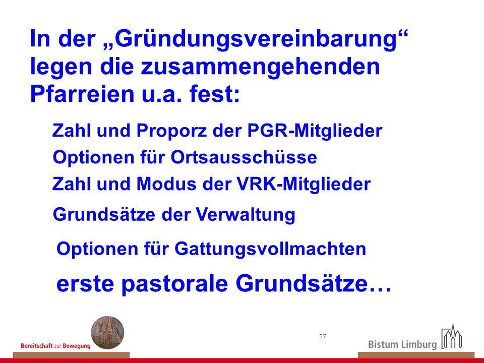 27 In der Gründungsvereinbarung legen die zusammengehenden Pfarreien u.a. fest: Zahl und Proporz der PGR-Mitglieder Zahl und Modus der VRK-Mitglieder