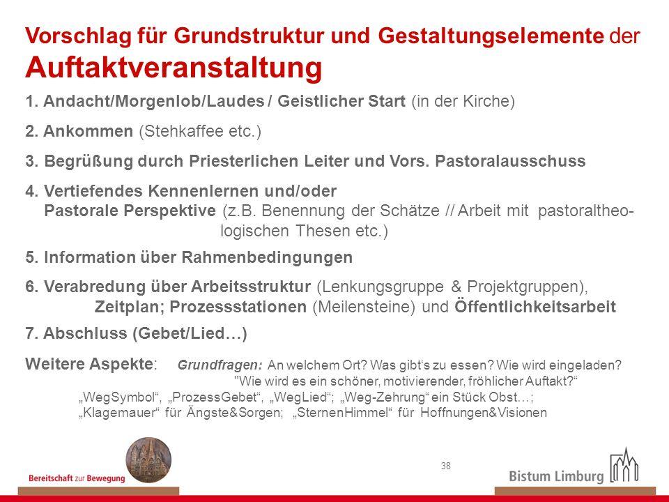 38 Vorschlag für Grundstruktur und Gestaltungselemente der Auftaktveranstaltung 1. Andacht/Morgenlob/Laudes / Geistlicher Start (in der Kirche) 2. Ank