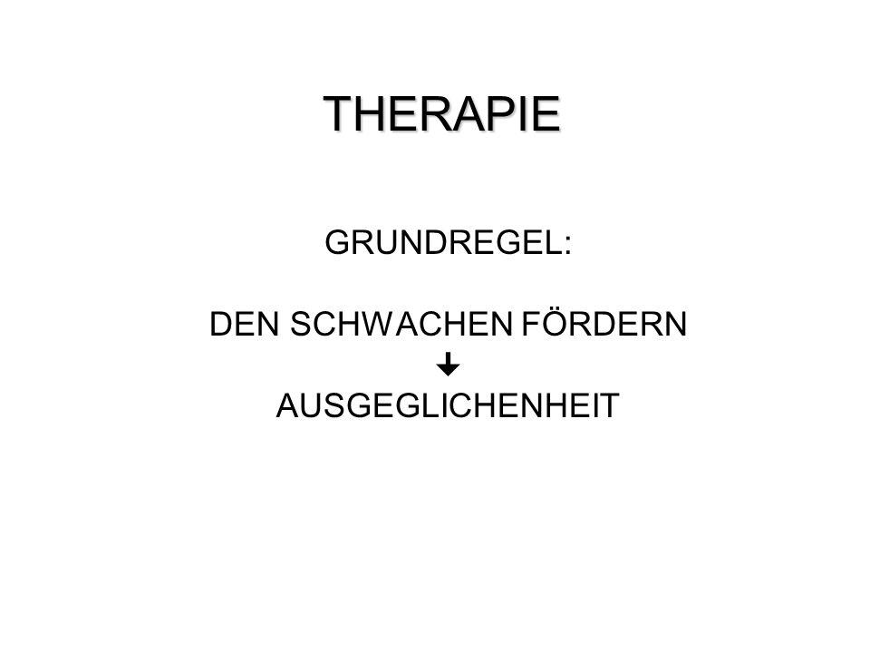 THERAPIE THERAPIE GRUNDREGEL: DEN SCHWACHEN FÖRDERN AUSGEGLICHENHEIT