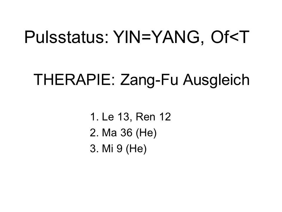 Pulsstatus: YIN=YANG, Of<T 1. Le 13, Ren 12 2. Ma 36 (He) 3. Mi 9 (He) THERAPIE: Zang-Fu Ausgleich