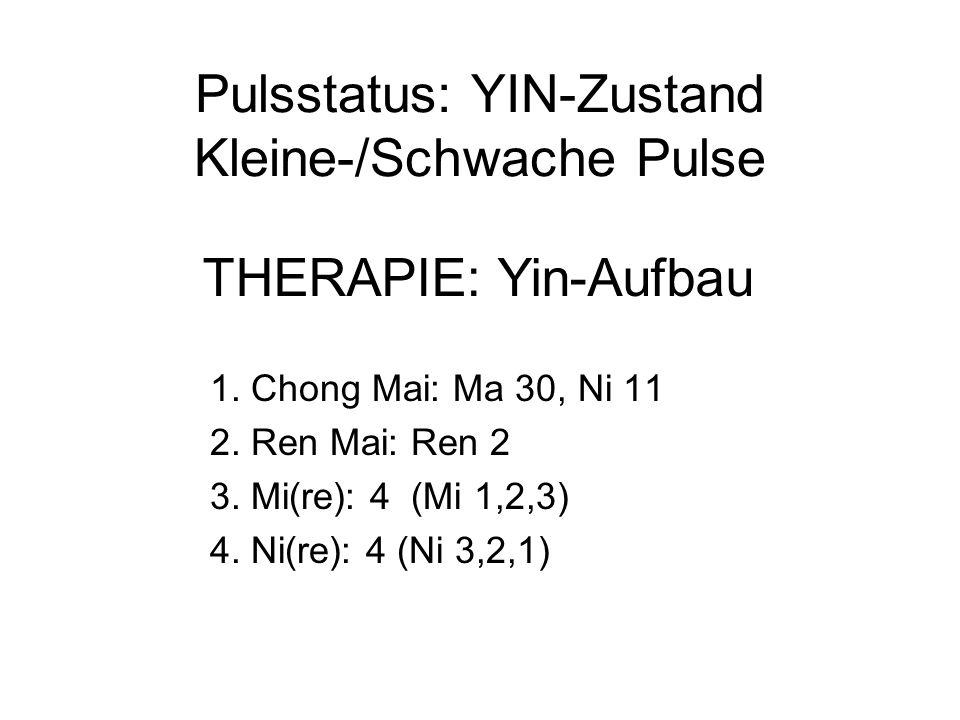 Pulsstatus: YIN-Zustand Kleine-/Schwache Pulse 1. Chong Mai: Ma 30, Ni 11 2.