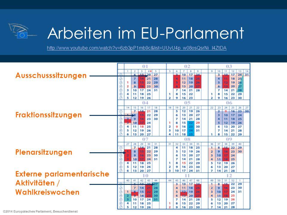 ©2014 Europäisches Parlament, Besucherdienst Arbeiten im EU-Parlament Ausschusssitzungen Fraktionssitzungen Plenarsitzungen Externe parlamentarische A