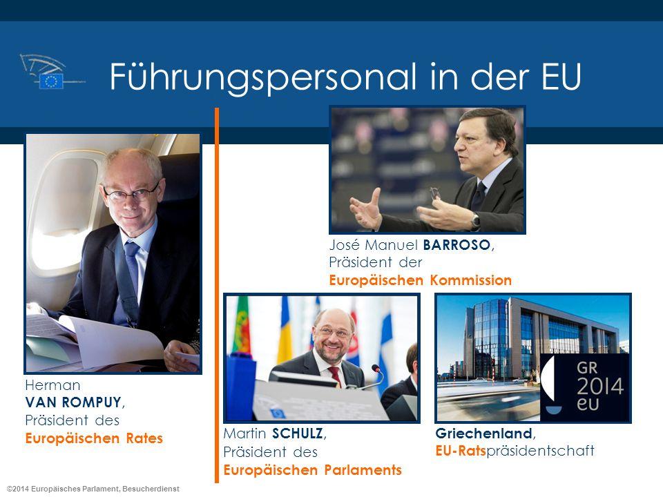 ©2014 Europäisches Parlament, Besucherdienst Führungspersonal in der EU José Manuel BARROSO, Präsident der Europäischen Kommission Herman VAN ROMPUY,
