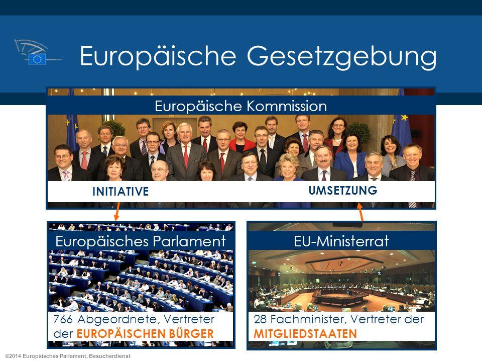©2014 Europäisches Parlament, Besucherdienst Europäische Gesetzgebung Europäische Kommission Europäisches Parlament 766 Abgeordnete, Vertreter der EUR