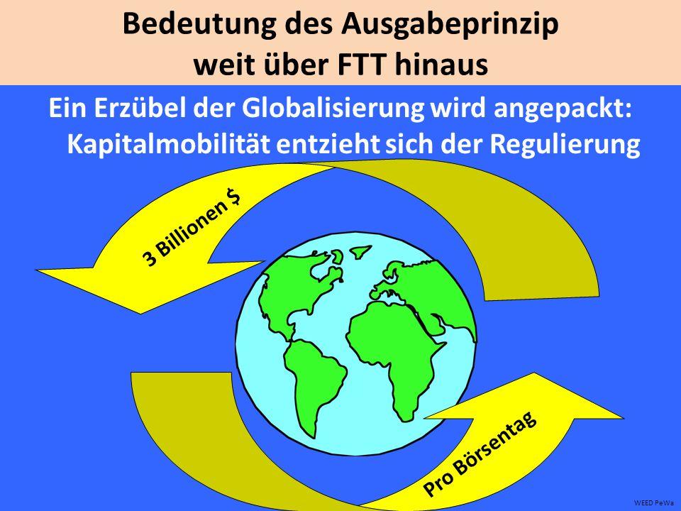 Bedeutung des Ausgabeprinzip weit über FTT hinaus Ein Erzübel der Globalisierung wird angepackt: Kapitalmobilität entzieht sich der Regulierung WEED PeWa 3 Billionen $ Pro Börsentag