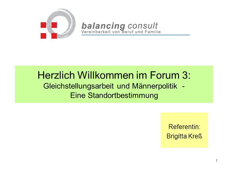 Herzlich Willkommen im Forum 3: Gleichstellungsarbeit und Männerpolitik - Eine Standortbestimmung Referentin: Brigitta Kreß 1