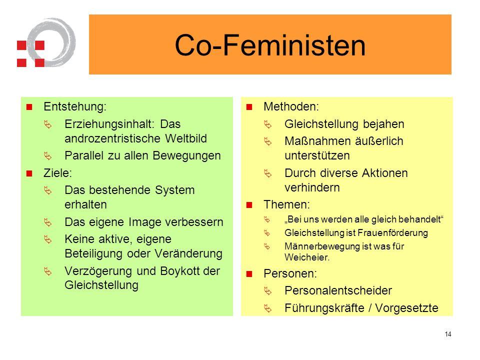 Co-Feministen Entstehung: Erziehungsinhalt: Das androzentristische Weltbild Parallel zu allen Bewegungen Ziele: Das bestehende System erhalten Das eig